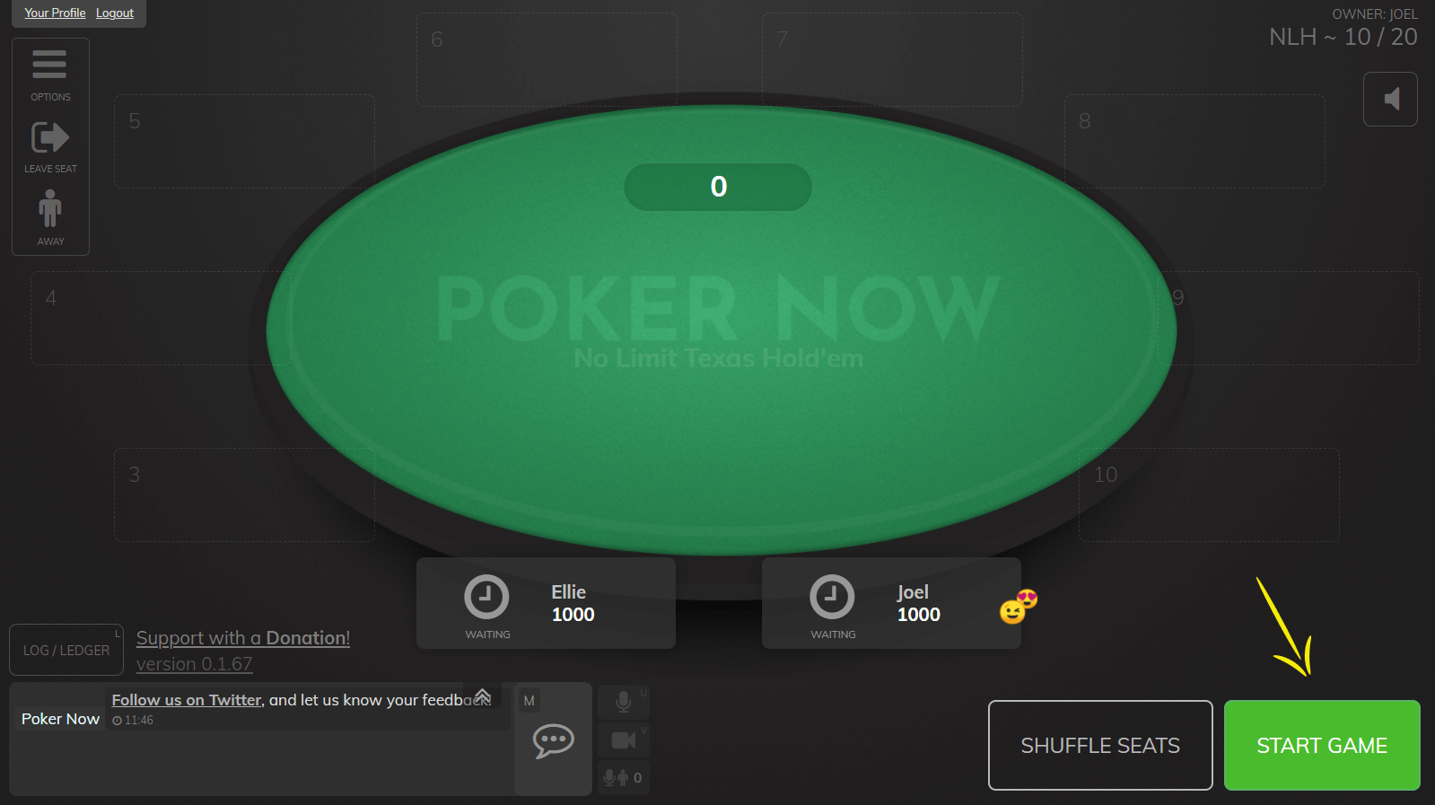 Starting the game on Poker Now