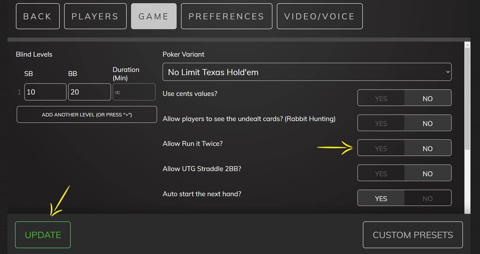 Poker Now settings screen, indicating where you enable Run it Twice