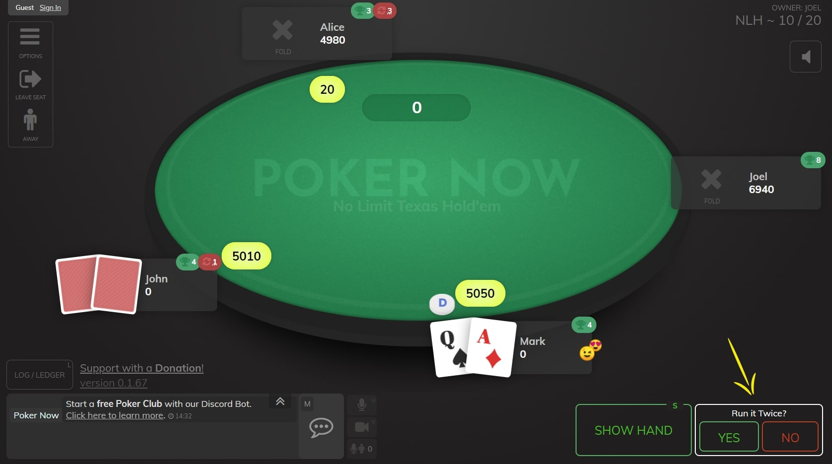 "Poker now table, highlighting the moment when the player needs to say if he accepts ""run it twice"""