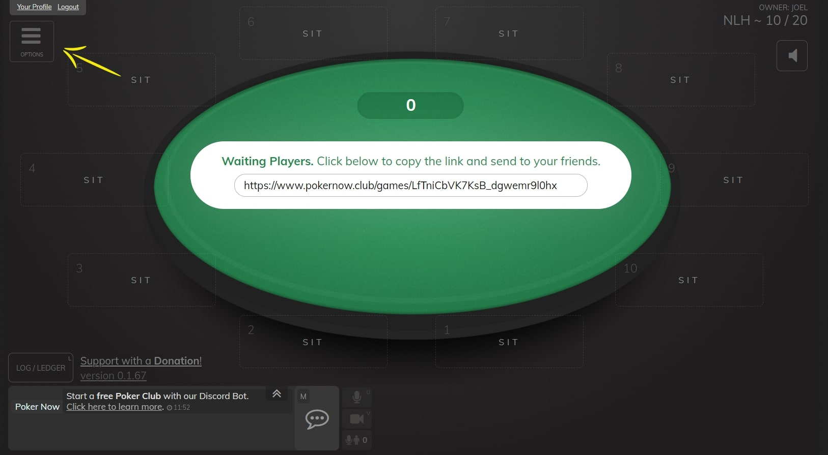 "Poker now table with a highlight on the ""Options"" field"