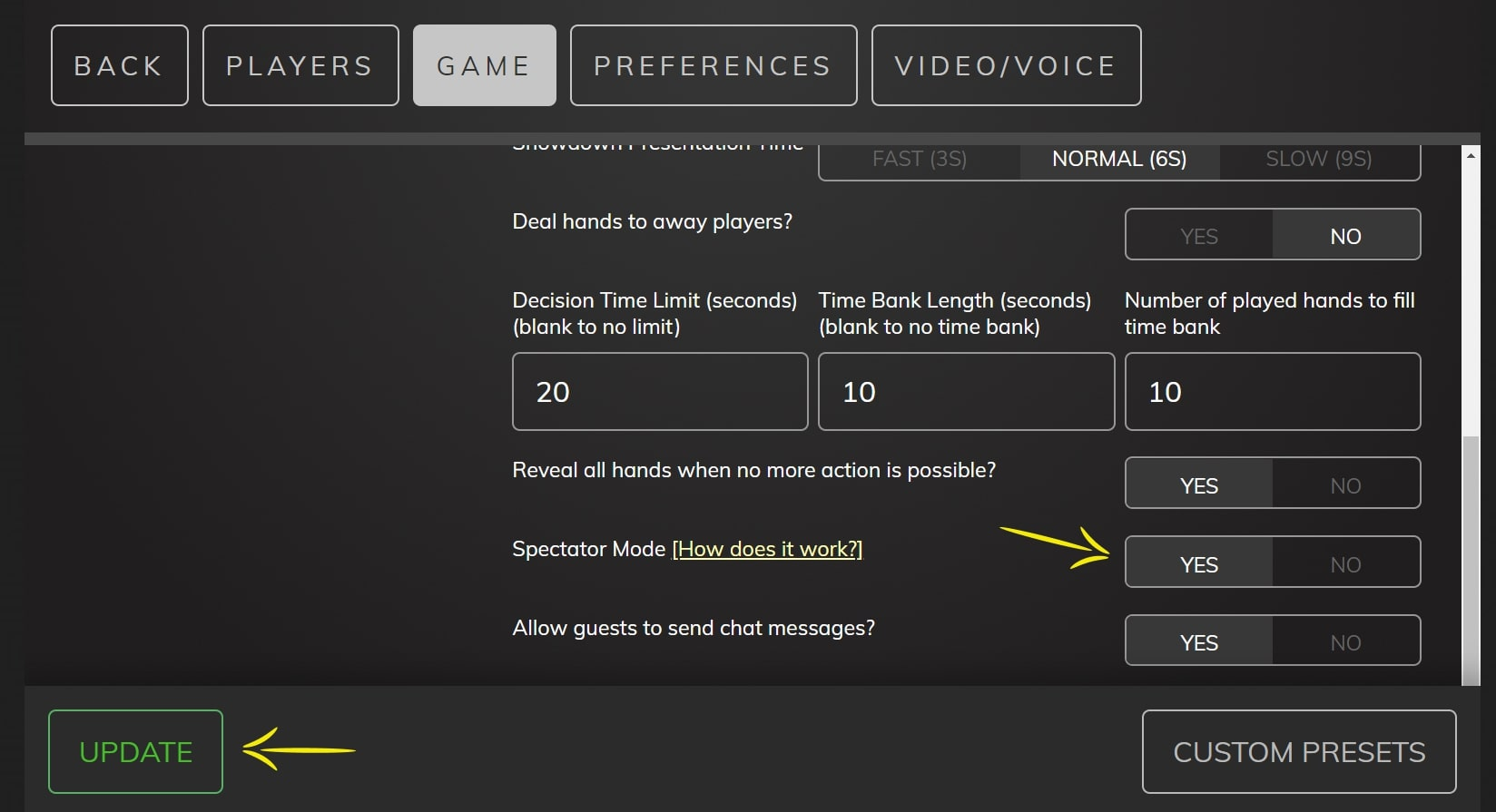 Poker Now settings screen, indicating where to activate spectator mode
