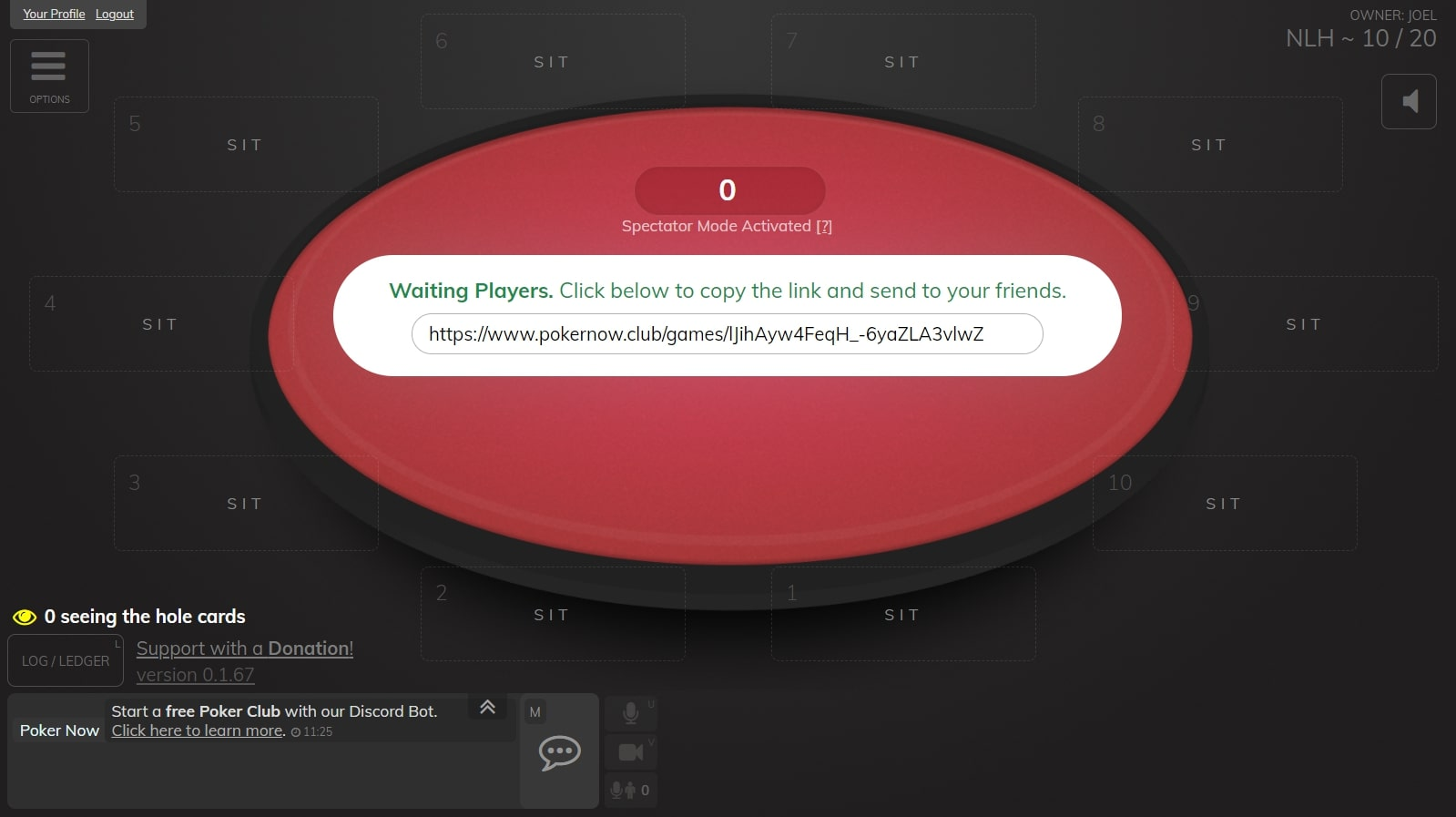 Poker now table with spectator mode activated and table red