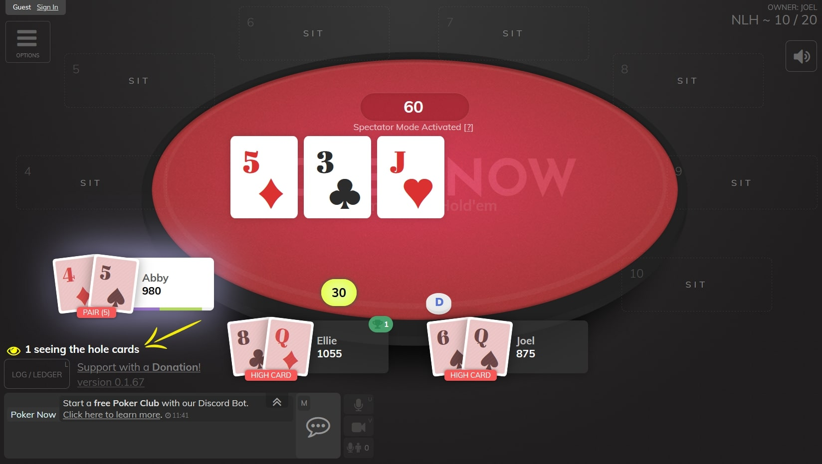 Poker now table with spectator mode activated and with highlight on the field that informs how many guests are seeing all the cards
