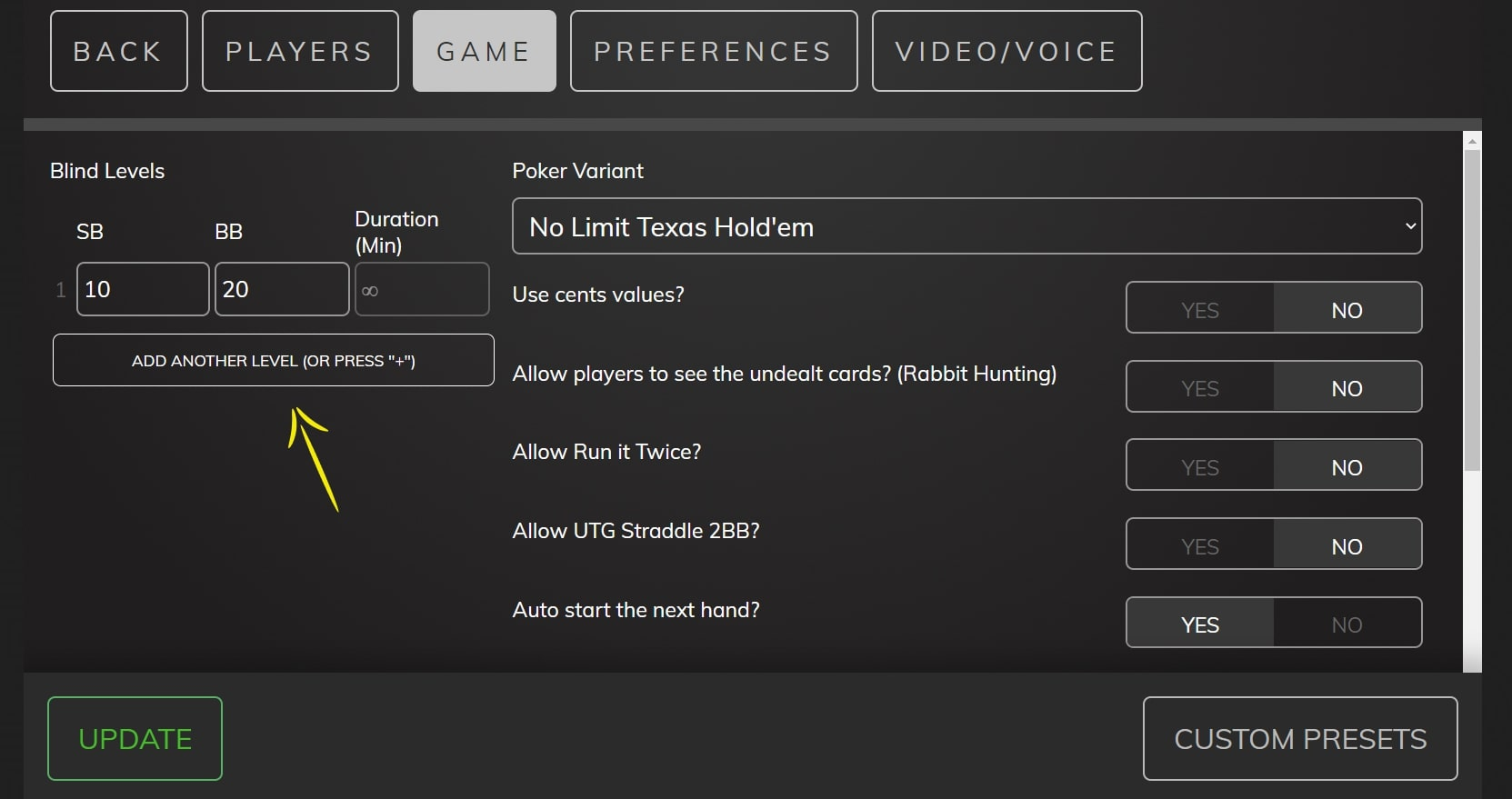 """Poker Now settings page indicating the """"blind Levels"""" field"""